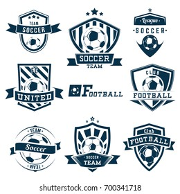 Set of soccer football logos, emblems and badges