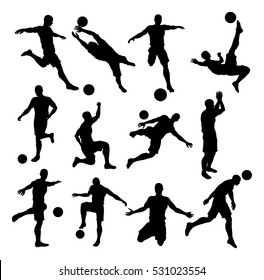 A set of Soccer Footballer Silhouettes in lots of different poses