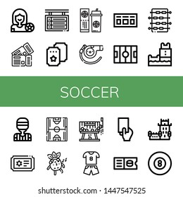 Set of soccer icons such as Football player, Tickets, Scoreboard, Ticket, Whistle, Hockey pitch, Foosball, Belem tower, Referee, Soccer field, Raffle, Sport, Red card , soccer