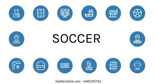 Set of soccer icons such as Footballer, Soccer field, Scoreboard, Belem tower, Raffle, Soccer ball, Billiard, Bola de berlim, Ticket, Judo, Foosball, player, Referee ,