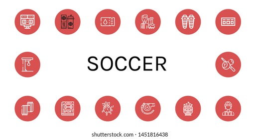Set of soccer icons such as Scoreboard, Ticket, Football player, Shin, Scarf, Sport, Whistle, Stadium, Referee, Punching ball, Billiard