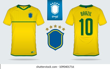 Set of soccer jersey or football kit template design for Brazil national football team. Front and back view soccer uniform. Yellow Football t shirt mock up. Vector Illustration