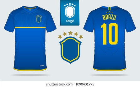 Set of soccer jersey or football kit template design for Brazil national football team. Front and back view soccer uniform. Blue Football t shirt mock up. Vector Illustration