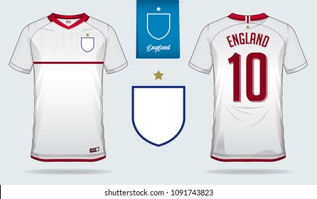 Set of soccer jersey or football kit template design for England national football team. Front and back view soccer uniform. Football t shirt mock up. Vector Illustration