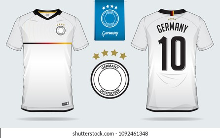 a156aab666b Set of soccer jersey or football kit template design for Germany national  football team. Front