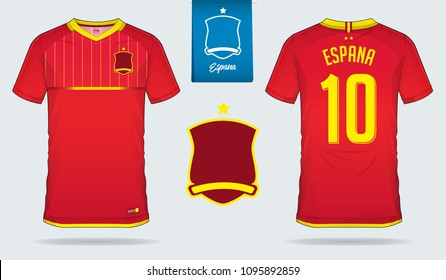 Set of soccer jersey or football kit template design for Spain national football team. Front and back view soccer uniform. Football t shirt mock up. Vector Illustration