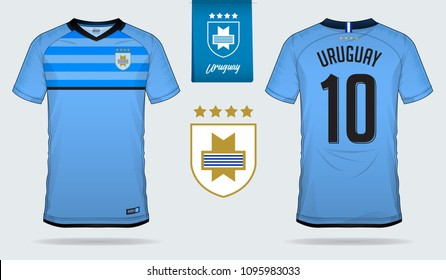 Set of soccer jersey or football kit template design for Uruguay national football team. Front and back view soccer uniform. Football t shirt mock up. Vector Illustration
