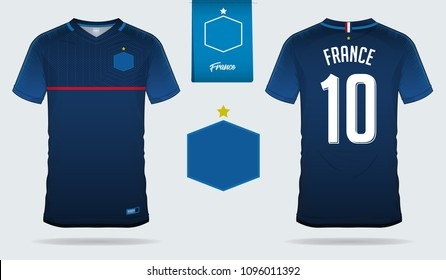 Set of soccer jersey or football kit template design for France national football team. Front and back view soccer uniform. Football t shirt mock up. Vector Illustration