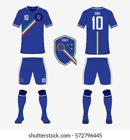 Set of soccer jersey or football kit template for Italy national football team. Front and back view soccer uniform. Sport shirt mock up. Vector Illustration