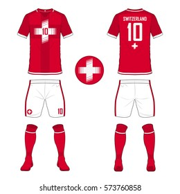 Set of soccer jersey or football kit template for Switzerland national football team. Front and back view soccer uniform. Sport shirt mock up. Vector Illustration