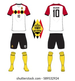 Set of soccer jersey or football kit template for Belgium national football team. Front and back view soccer uniform. Sport shirt mock up. Vector Illustration