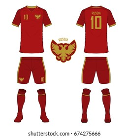 Set of soccer jersey or football kit template for Russia national football team. Front and back view soccer uniform. Sport shirt mock up. Vector Illustration
