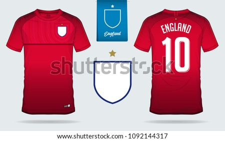3b7e608a2 Set of soccer jersey or football kit template design for England national football  team. Front