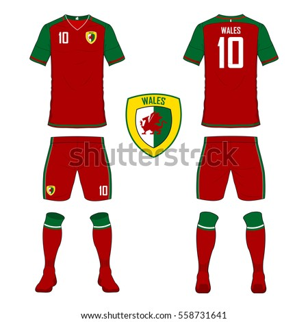 ecc64ec5d Set of soccer jersey or football kit template for Wales national football  team. Front and back view soccer uniform. Sport shirt mock up.