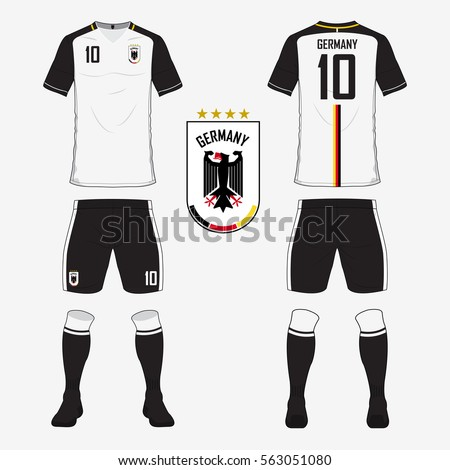 429fca523 Set of soccer jersey or football kit template for Germany national football  team. Front and back view soccer uniform. Sport shirt mock up.