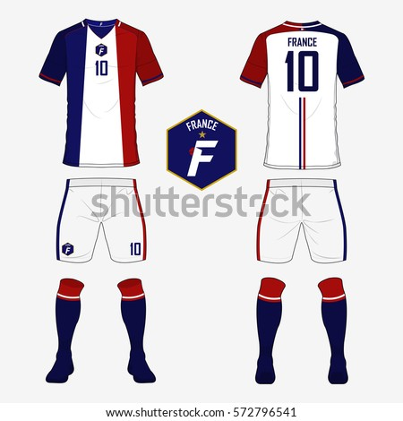 5ece9e1d623 Set of soccer jersey or football kit template for France national football  team. Front and