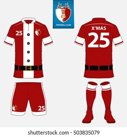 Set of soccer kit or football jersey template in Santa Claus Concept. Flat Christmas reindeer logo on blue label. Front and back view soccer uniform. Football t-shirt mock up. Vector Illustration