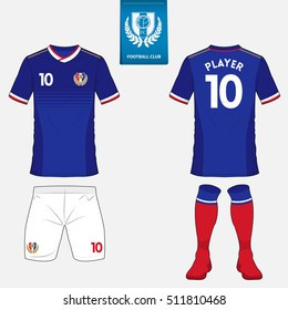Set of soccer kit or football jersey template for football club. Flat football logo on blue label. Front and back view soccer uniform. Football apparel mock up. Vector Illustration