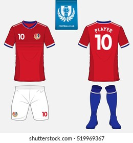 Set of soccer kit or football jersey template. Flat logo on blue label. Front and back view. Football uniform. Vector
