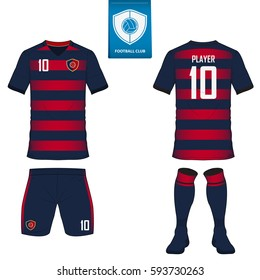 Set of soccer kit or football jersey template for football club. Flat football logo on blue label. Front and back view soccer uniform. Football shirt mock up. Vector Illustration.