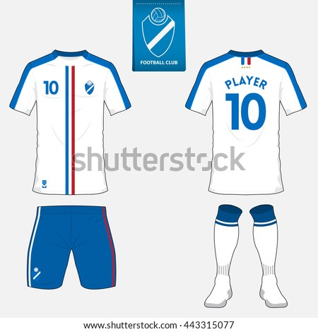 set soccer kit football jersey template stock vector royalty free
