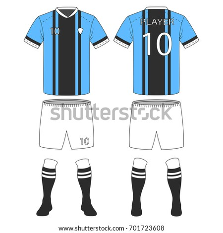 Set Of Soccer Kit Or Football Jersey Template For Club Vector Illustration