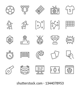 Set of Soccer Line Icons. Stadium, Field, Ball, Player, Trophy, Stopwatch, Whistle, Scoreboard and more. Pack of 48x48 Pixel Icons