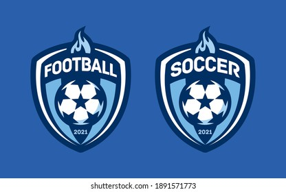 Set of soccer Logo or football club sign Badge. Football logo with shield background vector design