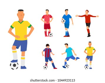 Set of Soccer Player With Ball. Footballers in Different Uniforms. Flat Vector Illustration