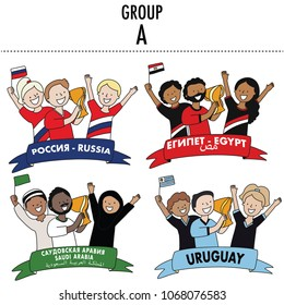 Set of soccer player and fans of the football team of Russia, Egypt, Saudia Arabia, and Uruguay  Group A. Vector Isolated white background.