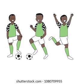 Set of soccer players of the football team of Nigeria kicking a football ball. Footballer Vector Isolated white background.