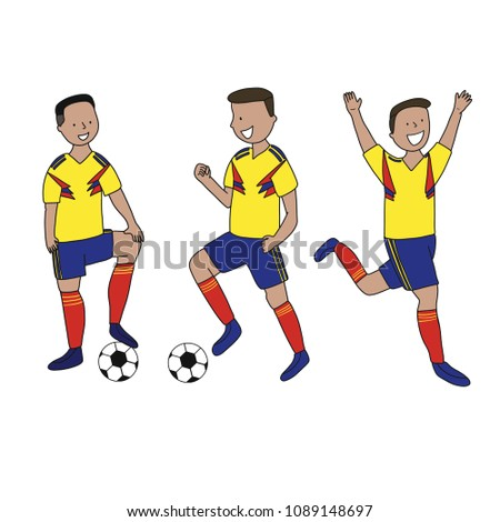 Set of soccer players of the football team of Colombia kicking a football  ball. Footballer Vector Isolated white background. - Vector 766a9563e