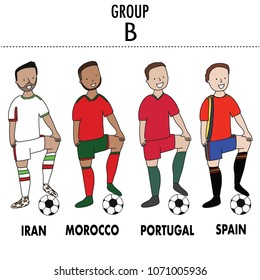 Set of soccer players of Iran, Morocco, Portugal and Spain  with a football ball Vector Isolated white background.