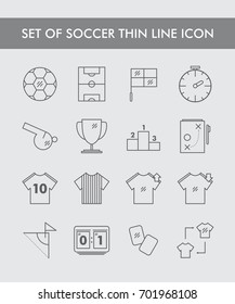 Set of Soccer Thin Line Icon