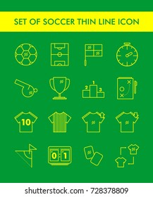 Set Of Soccer Thin Line Icon, Mono Line Flat Trend Design with Yellow Color Isolated in Green Background For Web Element, Web Icon , App, etc