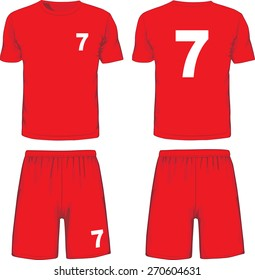 Set of soccer uniform front and back view. Vector illustration