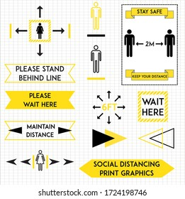 A set of social distancing graphics ideal for use in stores or shops.