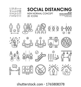 Set of Social Distancing line icon about Coronavirus disease COVID-19 Protection. Such as Covid-19 prevention, Social distancing, new normal concept, 128x128 pixel perfect icon vector, editable stroke