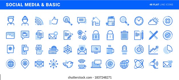 Set of social media and basic office flat line icons. Vector concepts for website and app design and development.