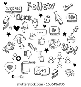 set of social media doodle vectors. social media design elements. vector illustration