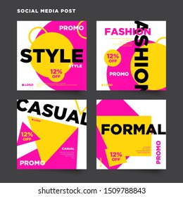 Set of social media fashion discount promo post layout template, abstract colorful geometric background