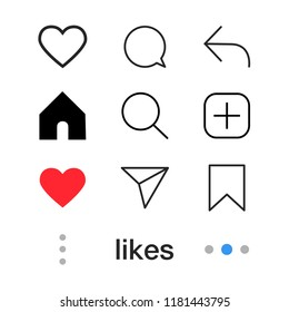 Set of Social media icon. Love, comment, share, home, profile, like, search, etc. vector sign