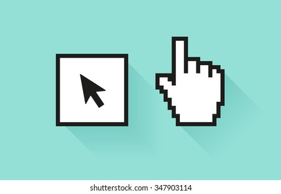 Set of social media icon. Pixel hand and botton with cursor arrow