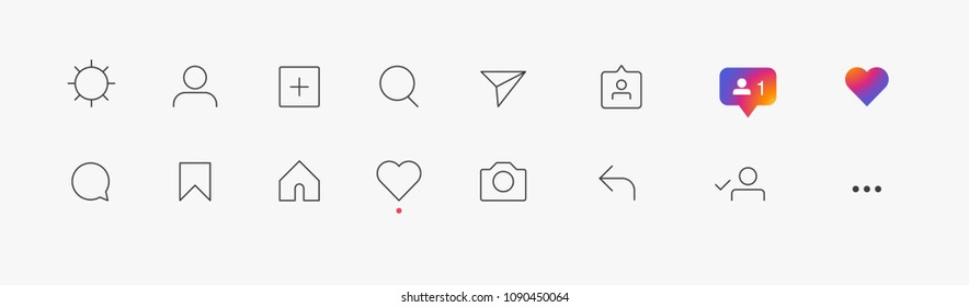 Set of social media icons inspired : like, follower, comment, home, camera, user, search. Vector illustration