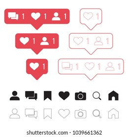 Set of social media icons: like, follower, comment, home, camera, user, search, tab. Vector illustration
