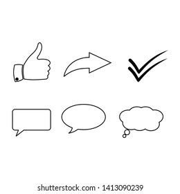a set of social media icons with thumbs up, right arrows and more