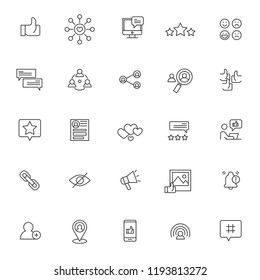 set of social media influencer related icon with simple outline and editable stroke