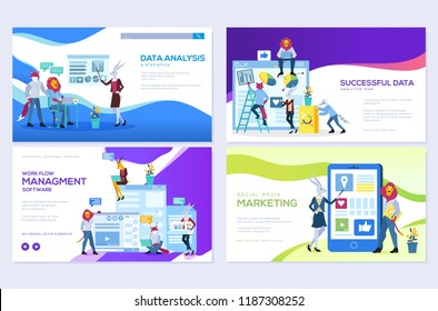 Set of social media marketing, data analysis, management app, consulting, business project. Vector illustration for mobile website and website development. Modern web page design templates