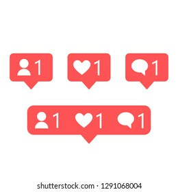 Set of social media notification . like 1, follower 1, comment 1 red color.Vector illustration