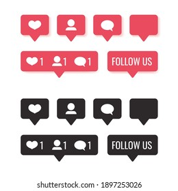 Set of social media notification pink and black icon - like, follower, comment, follow us button isolated on white background.  Computer web site and mobile app design 3d and flat. Vector illustration